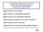 copenhagen burnout inventory part one personal burnout first edition august 1999