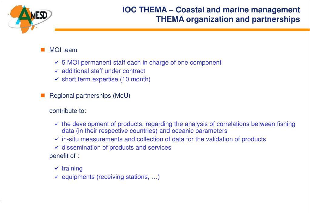 IOC THEMA – Coastal and marine management
