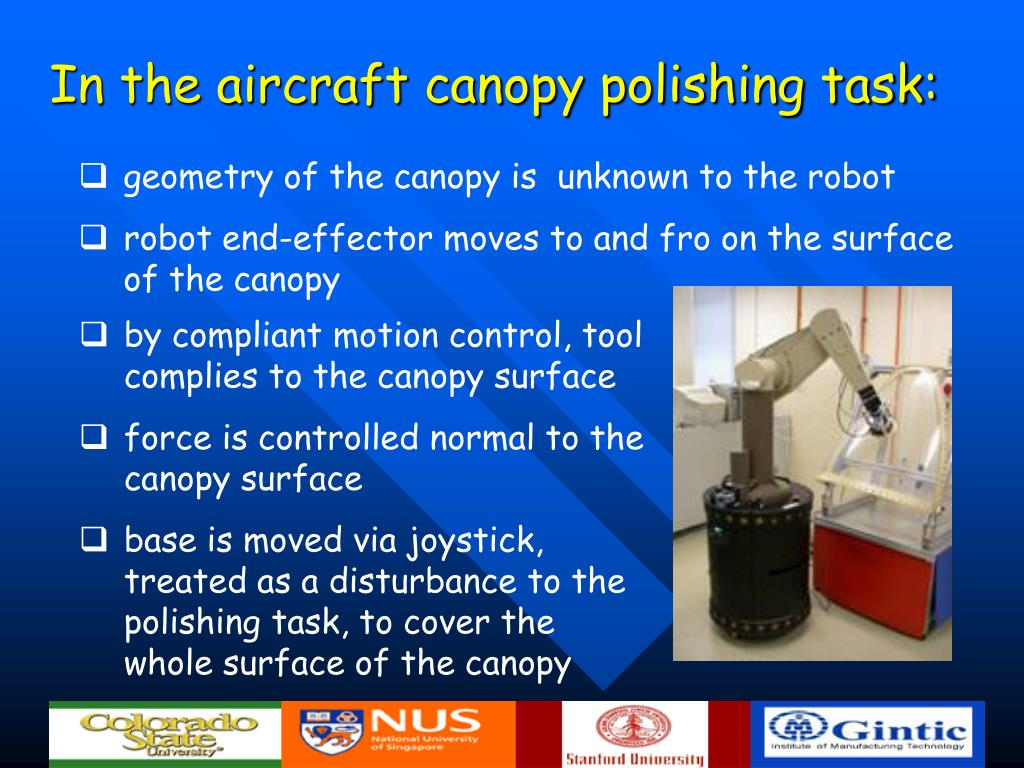In the aircraft canopy polishing task: