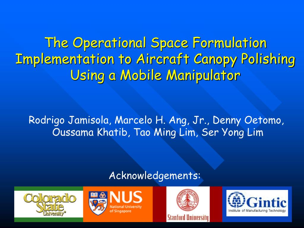 The Operational Space Formulation Implementation to Aircraft Canopy Polishing Using a Mobile Manipulator