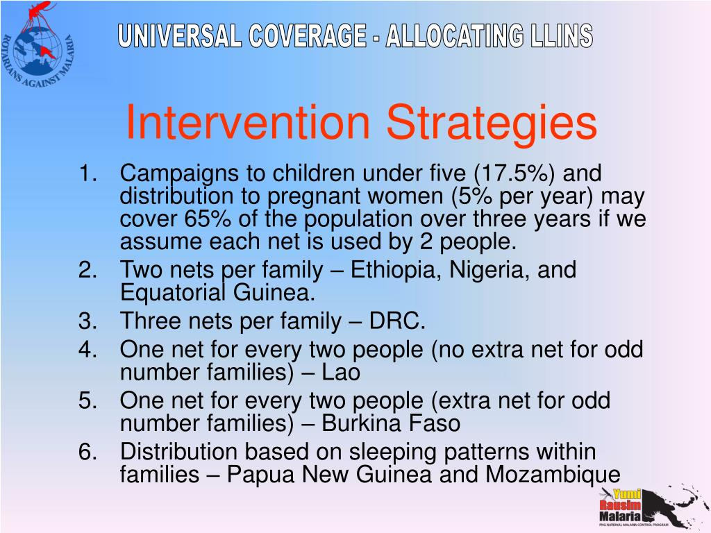Campaigns to children under five (17.5%) and distribution to pregnant women (5% per year) may cover 65% of the population over three years if we assume each net is used by 2 people.