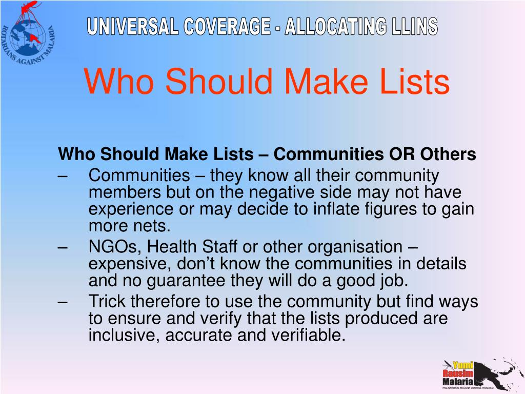 Who Should Make Lists – Communities OR Others