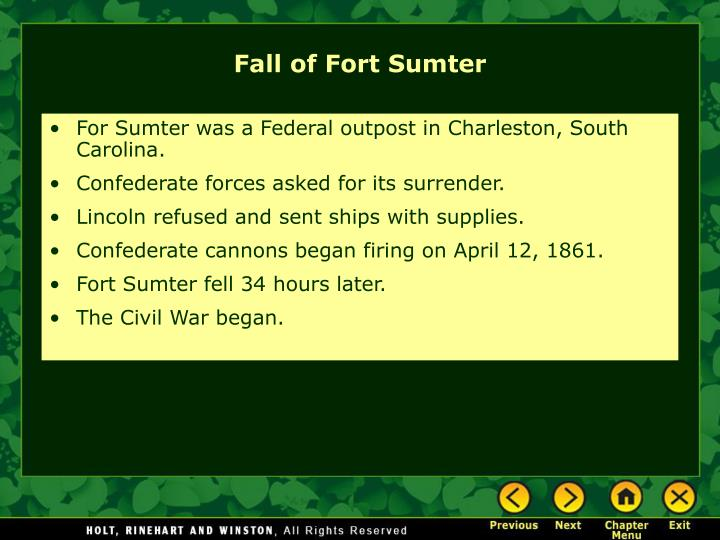 For Sumter was a Federal outpost in Charleston, South Carolina.