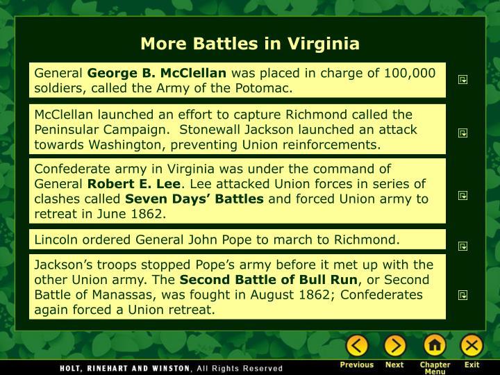 More Battles in Virginia