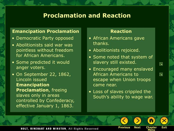 Proclamation and Reaction