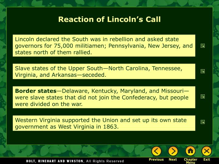 Reaction of Lincoln's Call