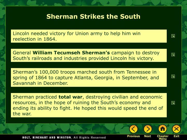 Sherman Strikes the South