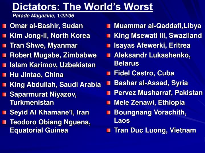 Dictators the world s worst parade magazine 1 22 06