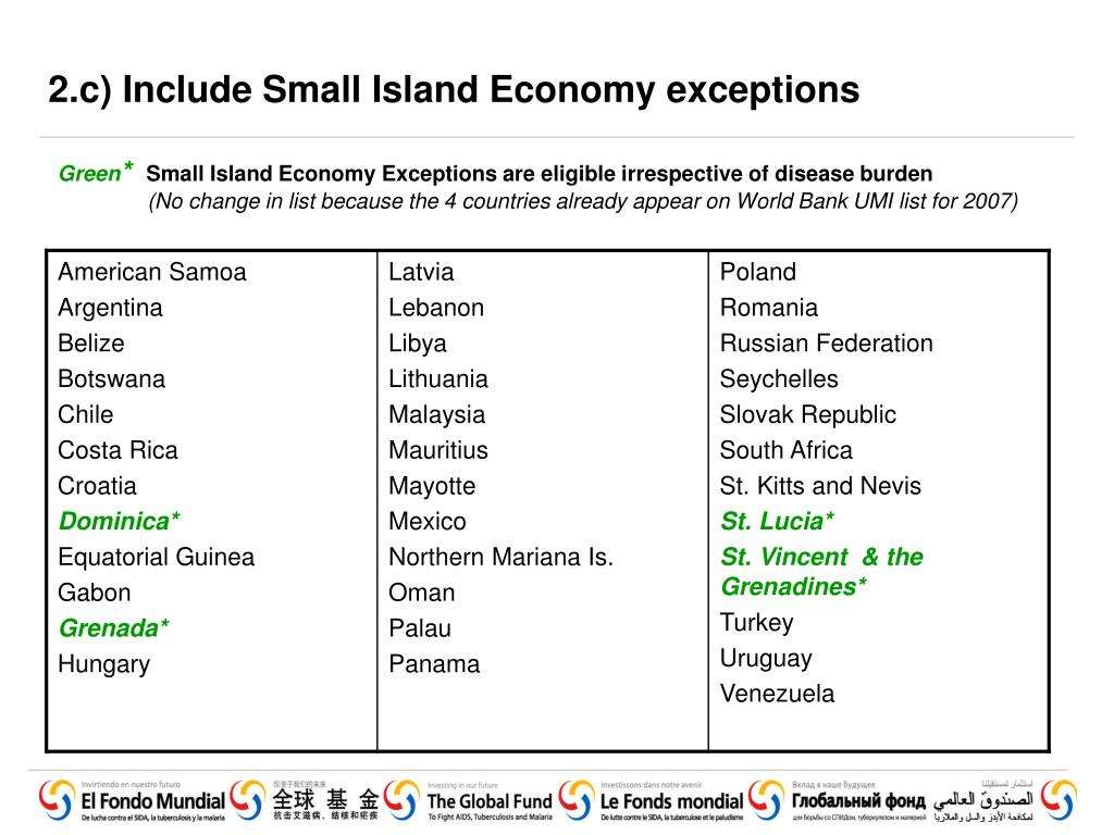 2.c) Include Small Island Economy exceptions