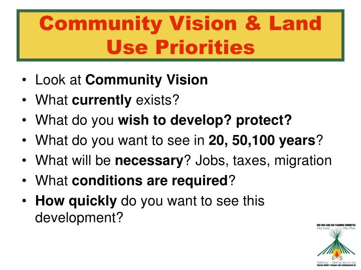 Community Vision & Land Use Priorities