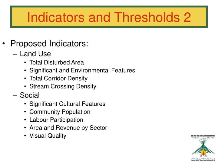 Proposed Indicators:
