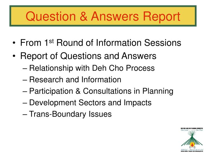 Question & Answers Report