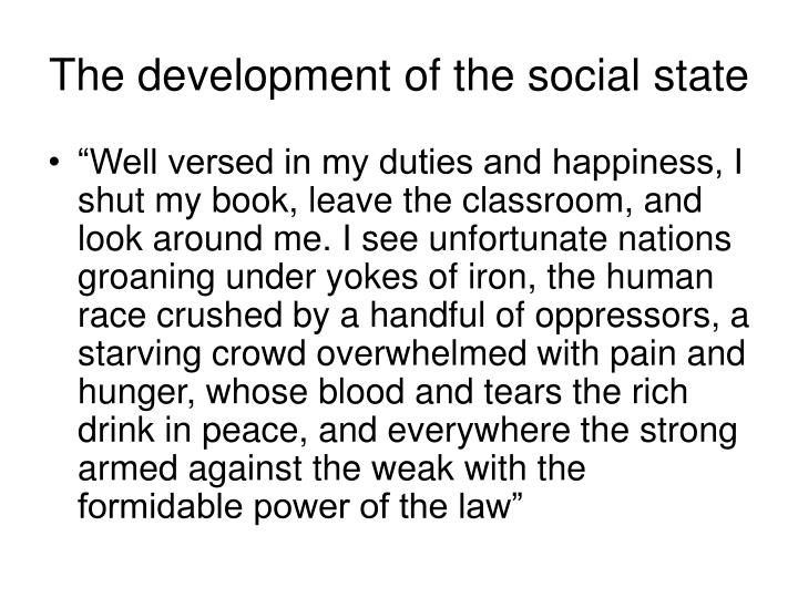The development of the social state