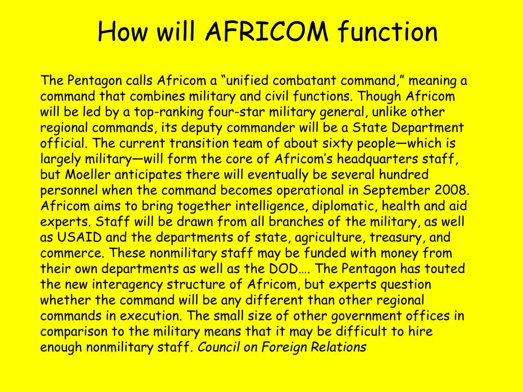 How will AFRICOM function