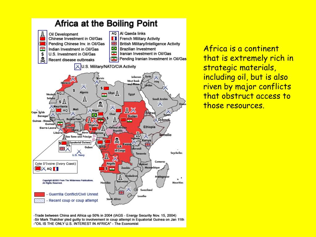 Africa is a continent that is extremely rich in strategic materials, including oil, but is also riven by major conflicts that obstruct access to those resources.