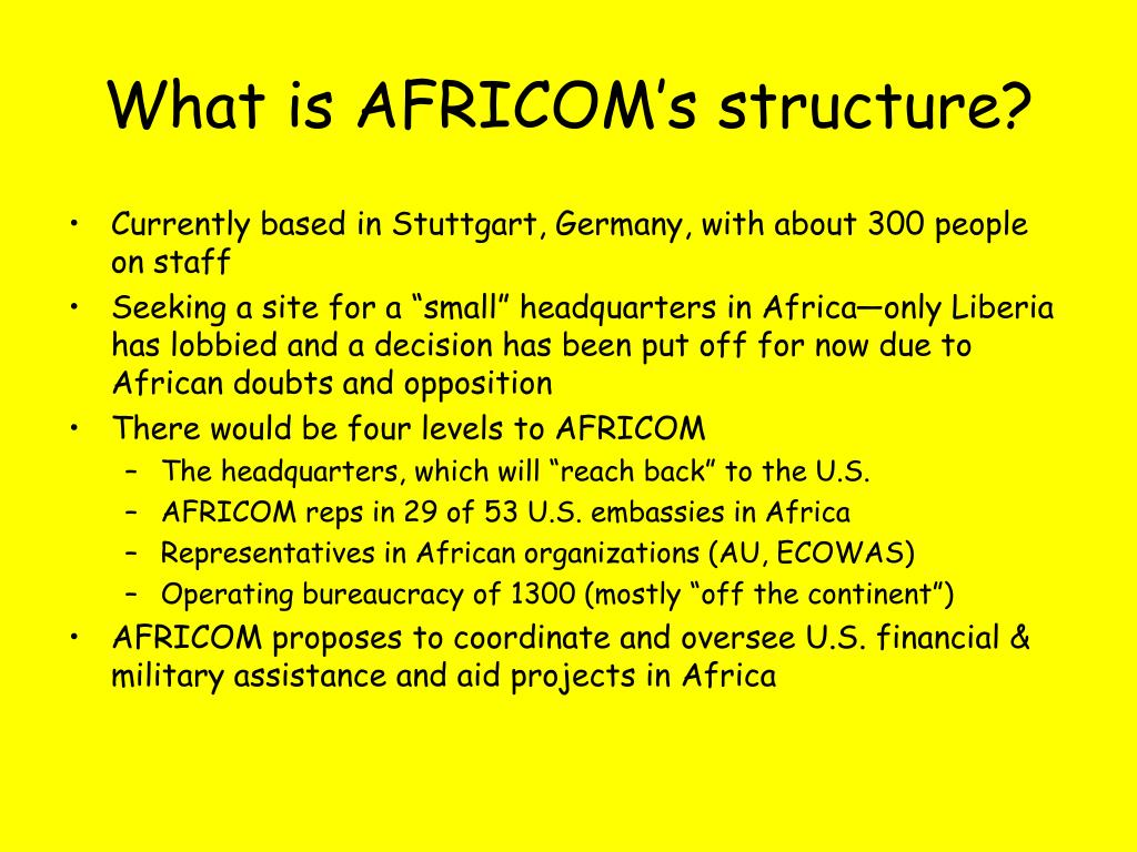 What is AFRICOM's structure?