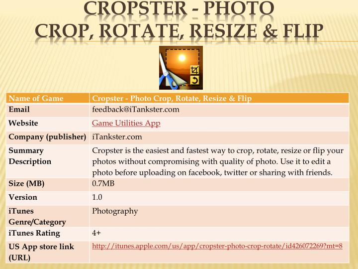 Cropster photo crop rotate resize flip