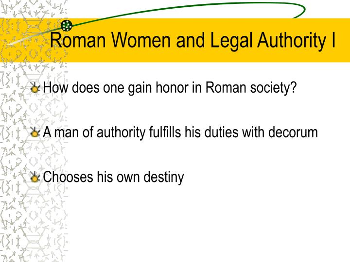 Roman Women and Legal Authority I