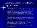 communications for effective organizations