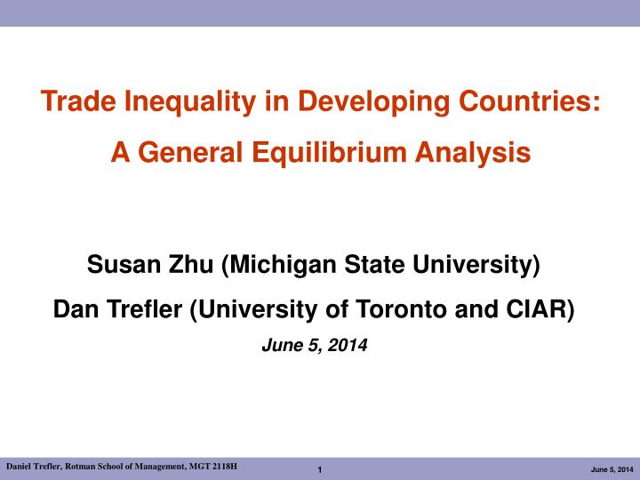 Trade Inequality in Developing Countries: