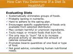 how can you determine if a diet is healthful