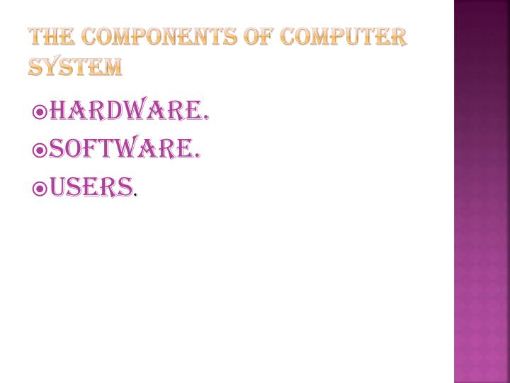 The Components of Computer System