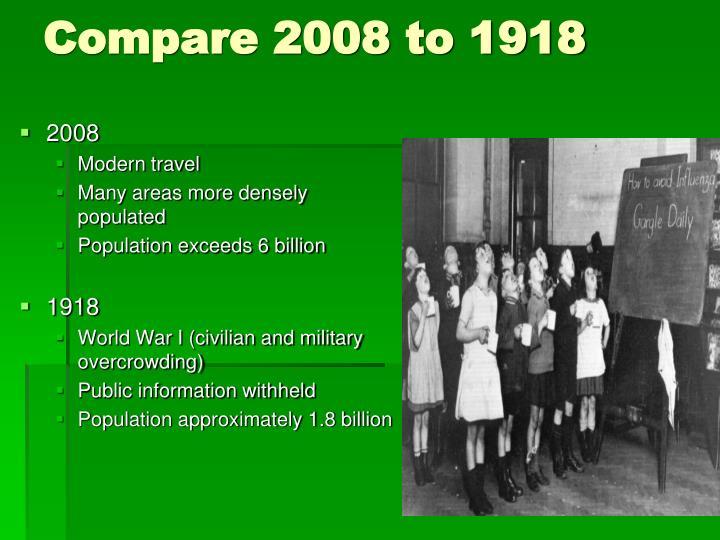 Compare 2008 to 1918