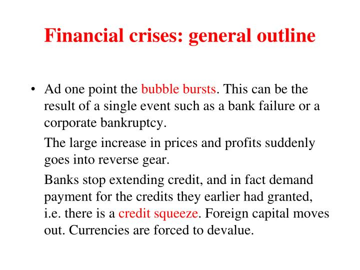 Financial crises: general outline