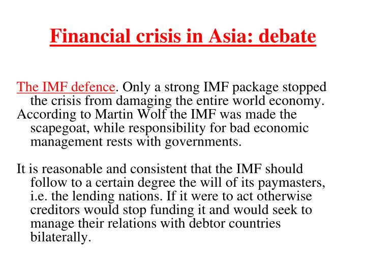 Financial crisis in Asia: debate