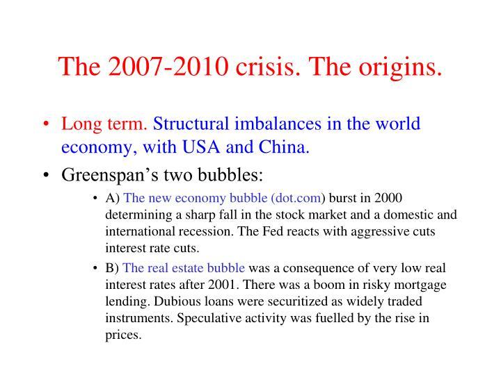 The 2007-2010 crisis. The origins