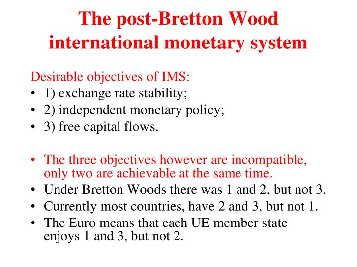 The post-Bretton Wood international monetary system