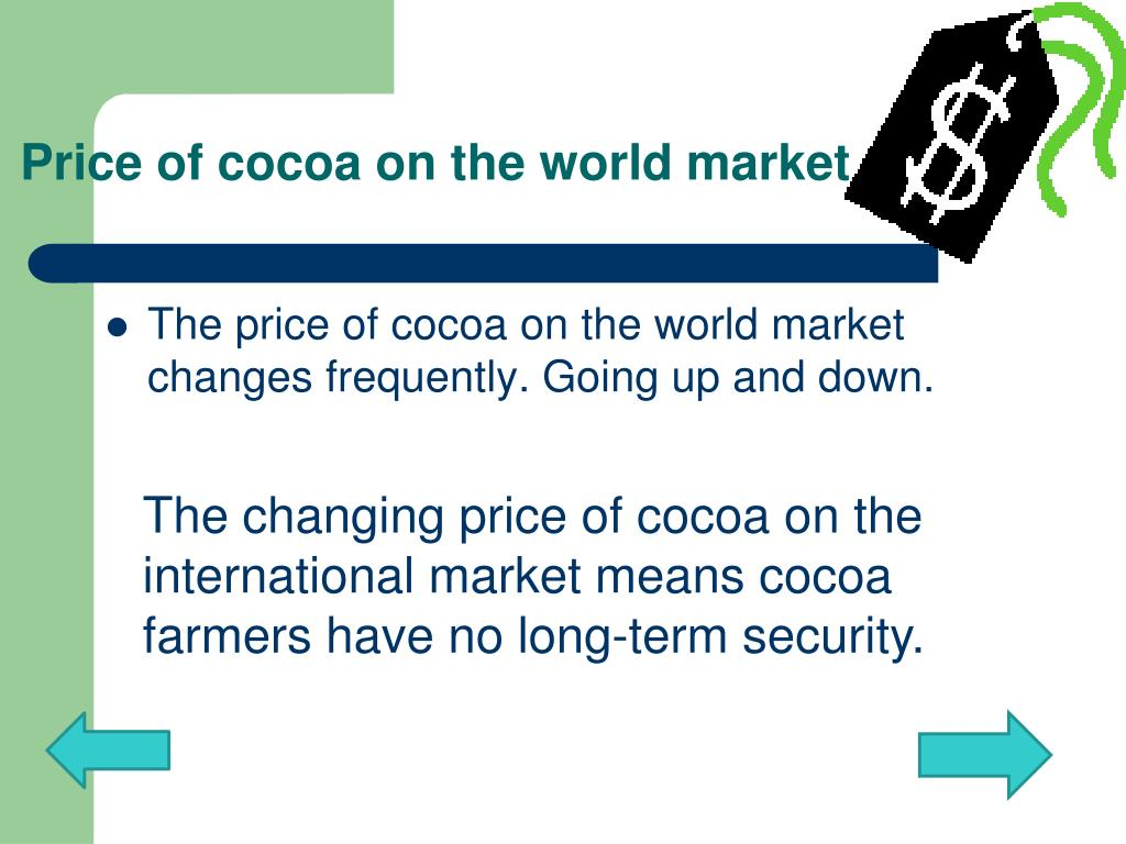 Price of cocoa on the world market