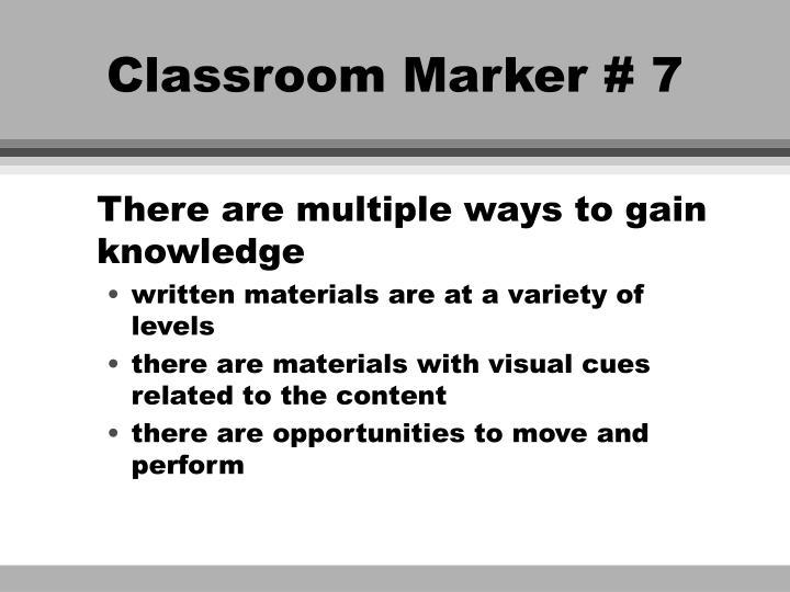 Classroom Marker # 7