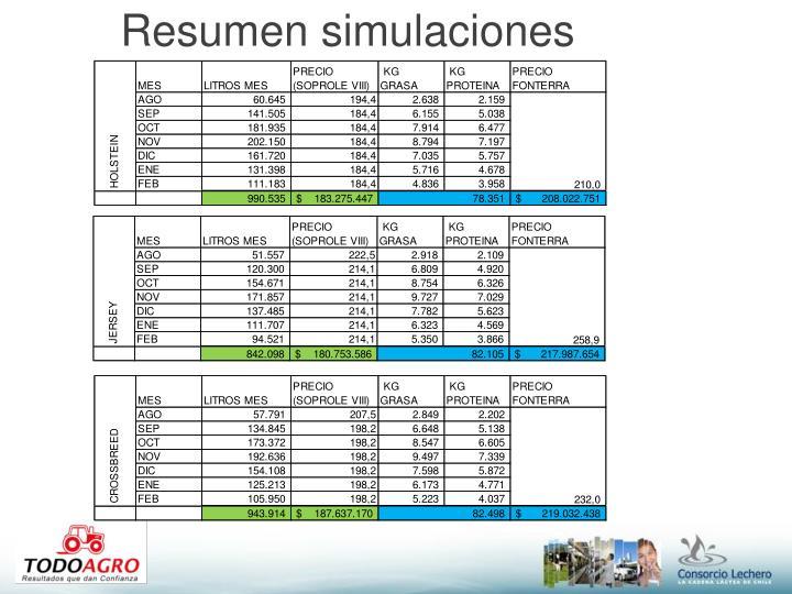 Resumen simulaciones