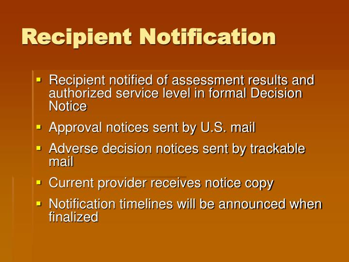 Recipient Notification
