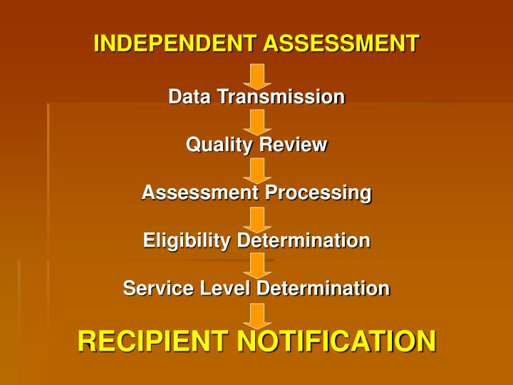 INDEPENDENT ASSESSMENT