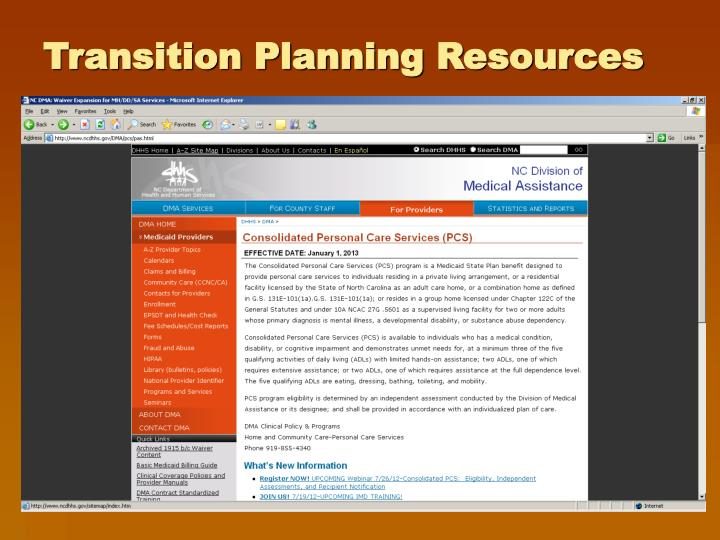 Transition Planning Resources