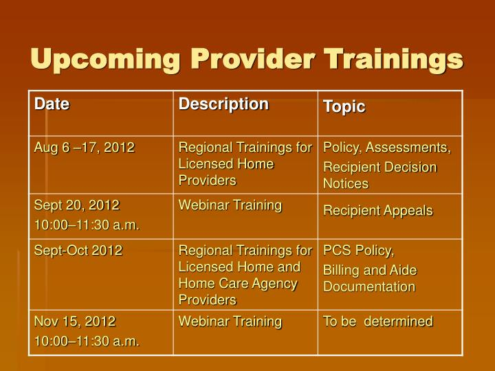 Upcoming Provider Trainings