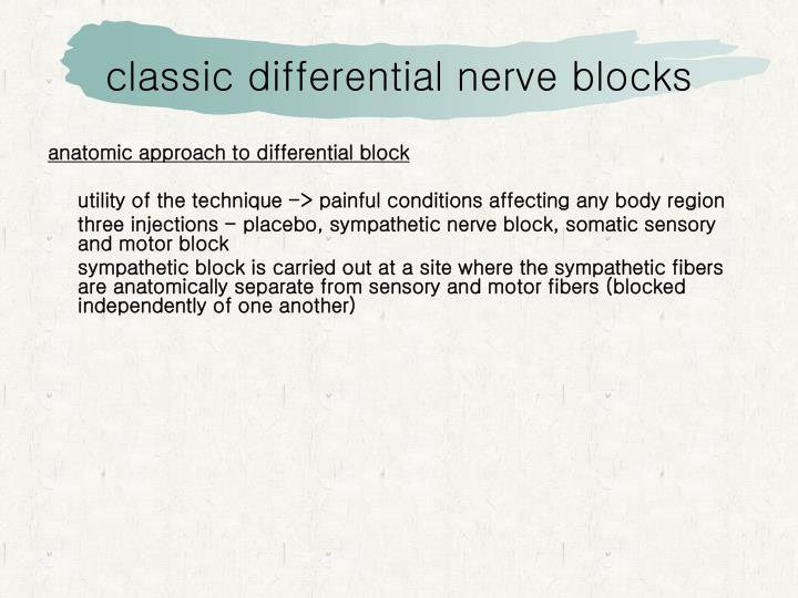 classic differential nerve blocks