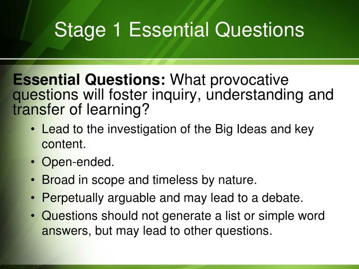 Stage 1 Essential Questions