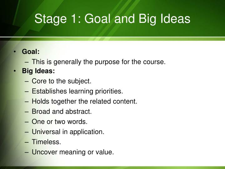 Stage 1: Goal and Big Ideas