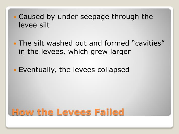 Caused by under seepage through the levee silt