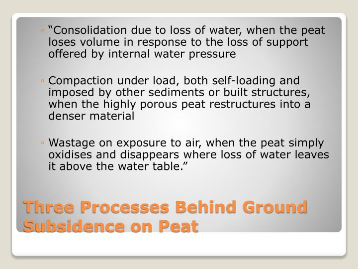 """""""Consolidation due to loss of water, when the peat loses volume in response to the loss of support offered by internal water pressure"""