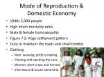 mode of reproduction domestic economy