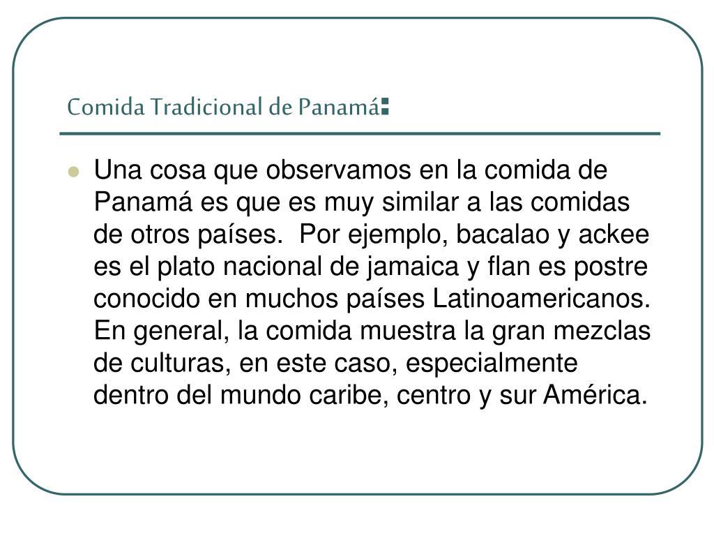 Comida Tradicional de Panamá