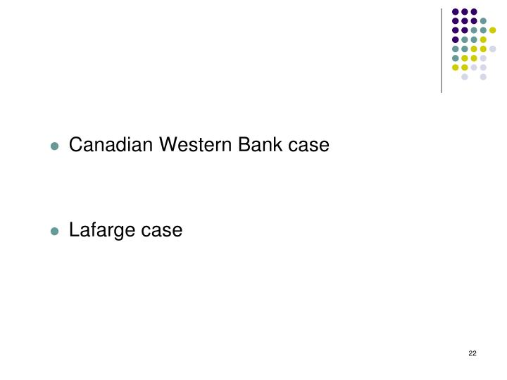 Canadian Western Bank case
