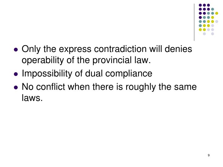 Only the express contradiction will denies operability of the provincial law.