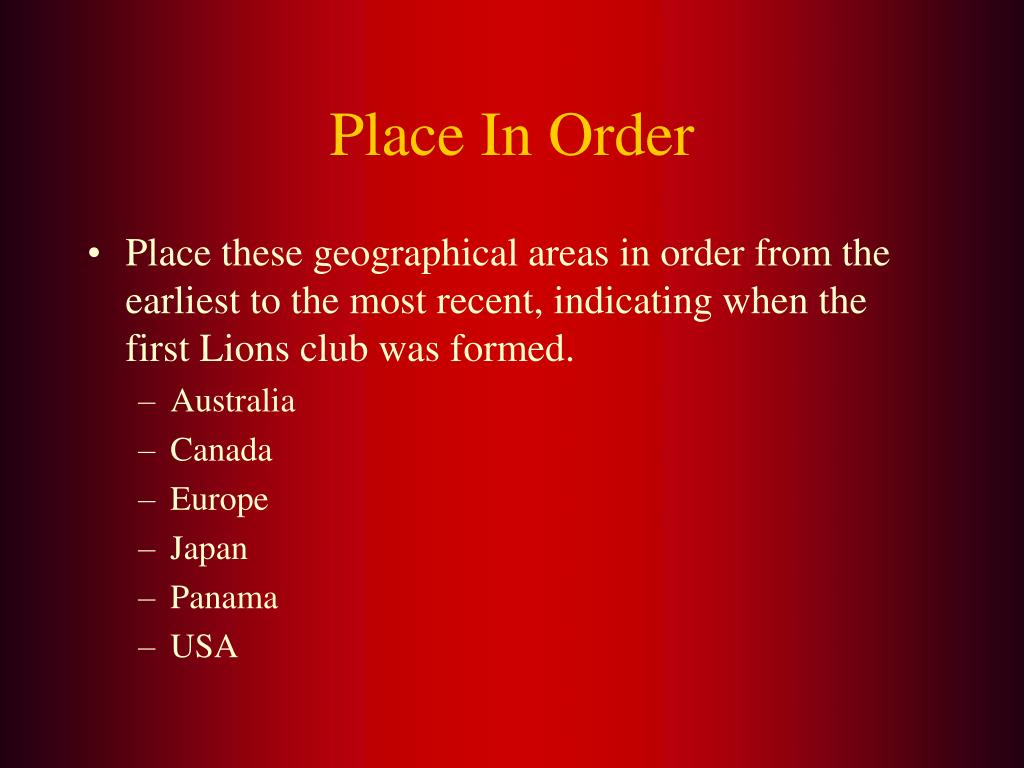 Place In Order