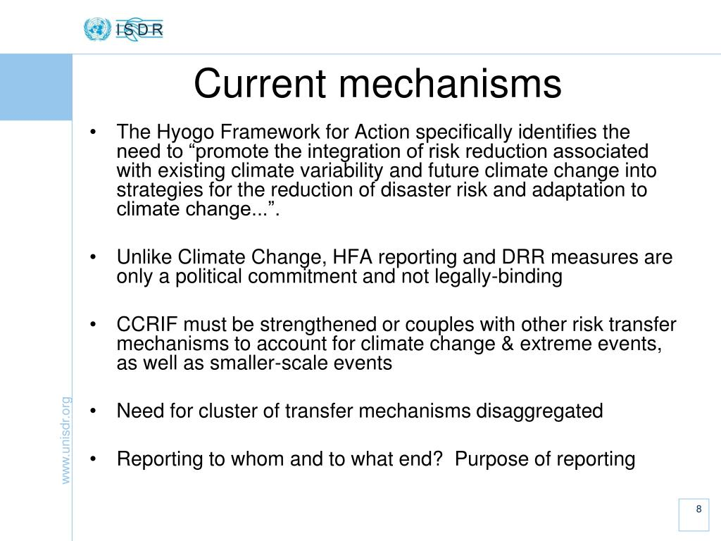 """The Hyogo Framework for Action specifically identifies the need to """"promote the integration of risk reduction associated with existing climate variability and future climate change into strategies for the reduction of disaster risk and adaptation to climate change...""""."""