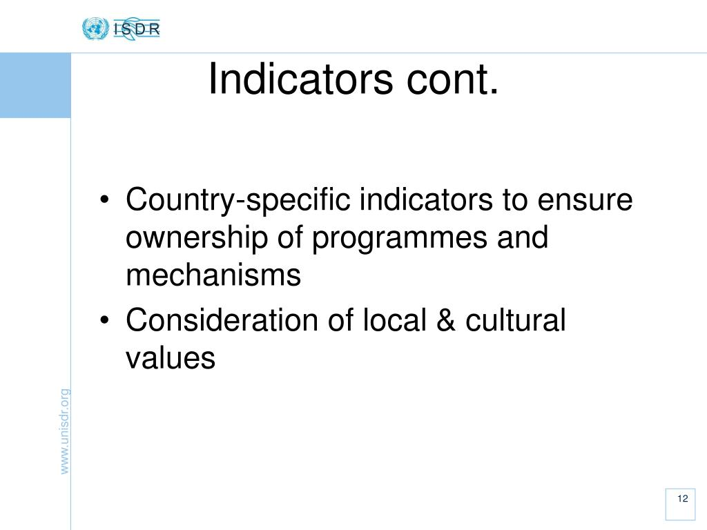 Country-specific indicators to ensure ownership of programmes and mechanisms